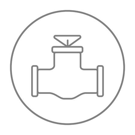 웹, 모바일 및 infographics에 대 한 가스 파이프 밸브 아이콘 라인. 흰색 배경에 고립 된 동그라미에 벡터 회색 선 아이콘을 벡터. 스톡 콘텐츠 - 51386794