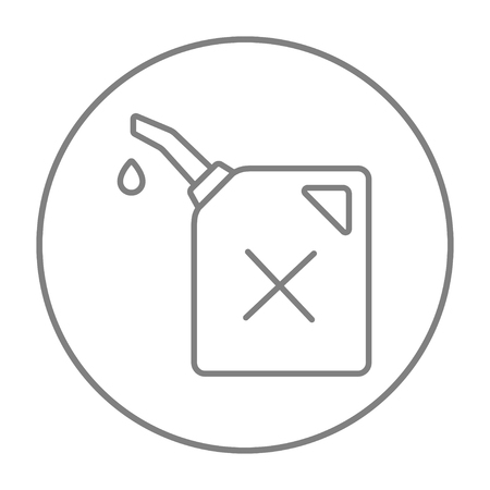 Gas container line icon for web, mobile and infographics. Vector grey thin line icon in the circle isolated on white background. Ilustrace