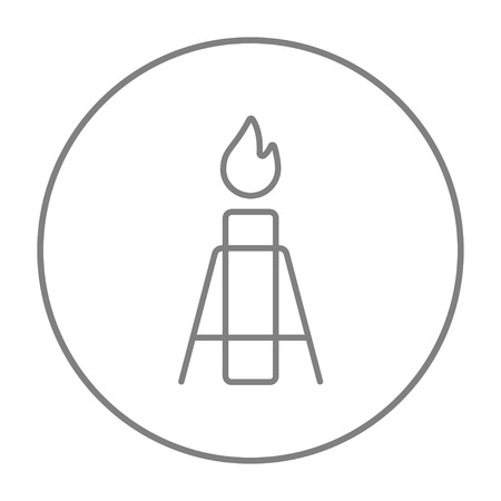 atmospheric: Gas flare line icon for web, mobile and infographics. Vector grey thin line icon in the circle isolated on white background.