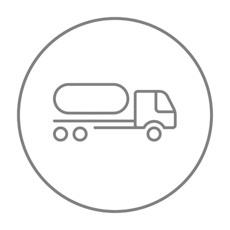 Fuel truck line icon for web, mobile and infographics. Vector grey thin line icon in the circle isolated on white background.