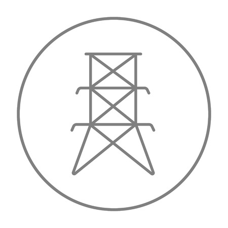 voltage gray: Electric tower line icon for web, mobile and infographics. Vector grey thin line icon in the circle isolated on white background.