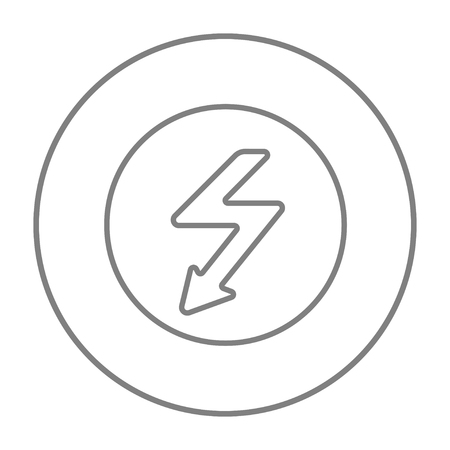 lightning arrow: Lightning arrow going down inside circle line icon for web, mobile and infographics. Vector grey thin line icon in the circle isolated on white background. Illustration