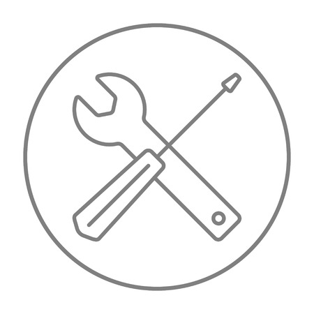 turn screw: Screwdriver and wrench tools line icon for web, mobile and infographics. Vector grey thin line icon in the circle isolated on white background.