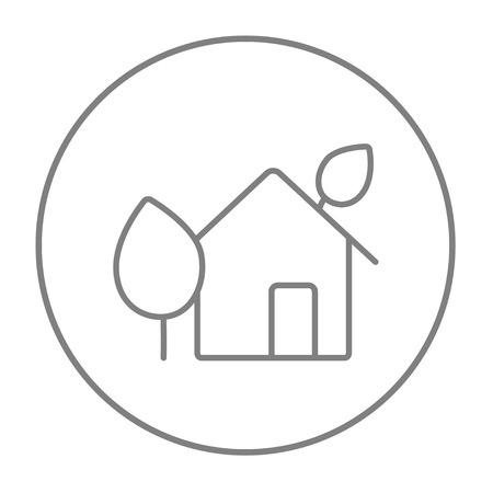 ecofriendly: Eco-friendly house line icon for web, mobile and infographics. Vector grey thin line icon in the circle isolated on white background. Illustration