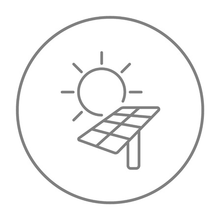 Sun with solar panel line icon for web, mobile and infographics. Vector grey thin line icon in the circle isolated on white background. Illustration