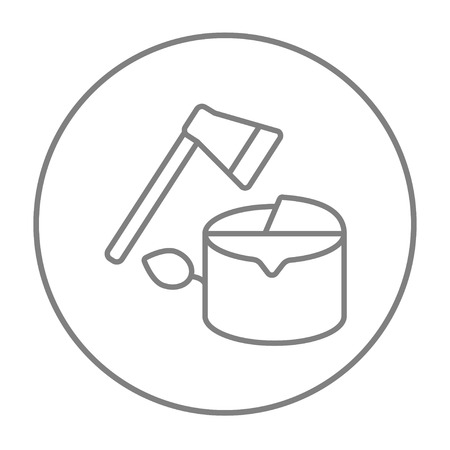 logging: Deforestation line icon for web, mobile and infographics. Vector grey thin line icon in the circle isolated on white background. Illustration