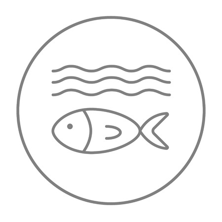 Fish under water line icon for web, mobile and infographics. Vector grey thin line icon in the circle isolated on white background.