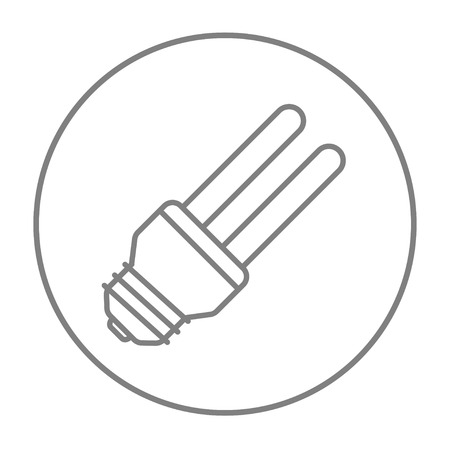 bombillo ahorrador: Energy saving light bulb line icon for web, mobile and infographics. Vector grey thin line icon in the circle isolated on white background.