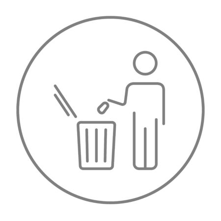 garbage man: Man throwing garbage in a bin line icon for web, mobile and infographics. Vector grey thin line icon in the circle isolated on white background. Illustration