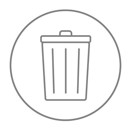 Trash può linea icona per web, mobile e infografica. Icona di vettore sottile linea grigia nel cerchio isolato su sfondo bianco.