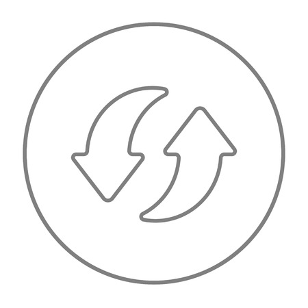 circling: Two circular arrows line icon for web, mobile and infographics. Vector grey thin line icon in the circle isolated on white background. Illustration