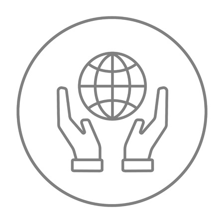 hands holding globe: Two hands holding globe line icon for web, mobile and infographics. Vector grey thin line icon in the circle isolated on white background.