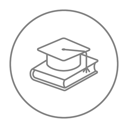 schoolbook: Graduation cap laying on book line icon for web, mobile and infographics. Vector grey thin line icon in the circle isolated on white background.