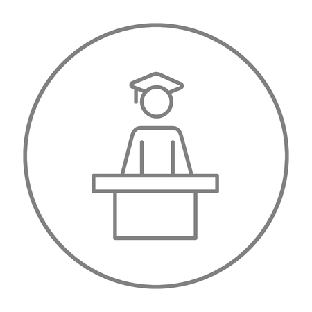 tribune: Graduate standing near tribune line icon for web, mobile and infographics. Vector grey thin line icon in the circle isolated on white background.