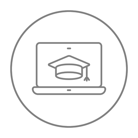 laptop screen: Laptop with graduation cap on a screen line icon for web, mobile and infographics. Vector grey thin line icon in the circle isolated on white background.