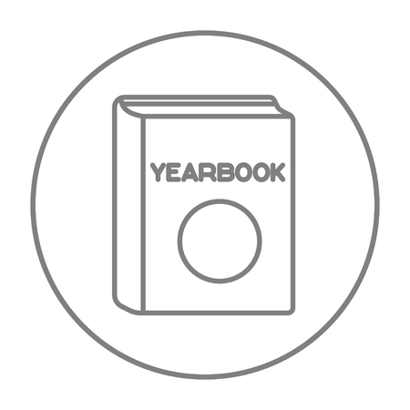 yearbook: Yearbook line icon for web, mobile and infographics. Vector grey thin line icon in the circle isolated on white background. Illustration