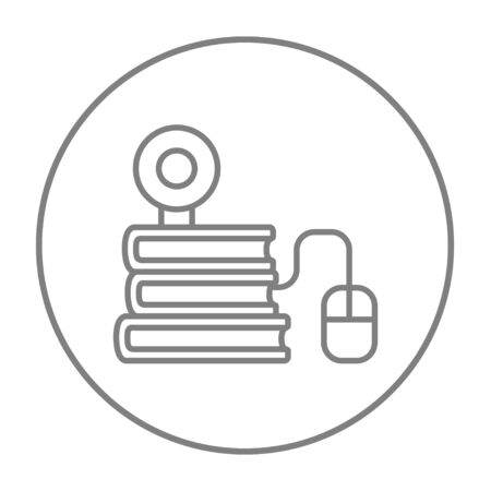 elearn: Computer mouse connected to a stack of books with webcam on it line icon for web, mobile and infographics. Vector grey thin line icon in the circle isolated on white background.