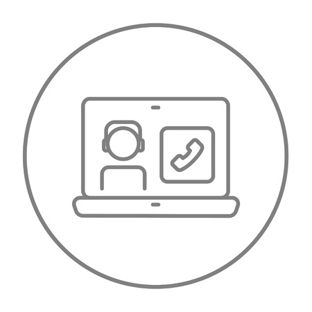 reciever: Laptop with a man in headphones on a screen for web, mobile and infographics. Vector grey thin line icon in the circle isolated on white background.