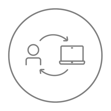 linking: Arrows linking man and laptop line icon for web, mobile and infographics. Vector grey thin line icon in the circle isolated on white background.