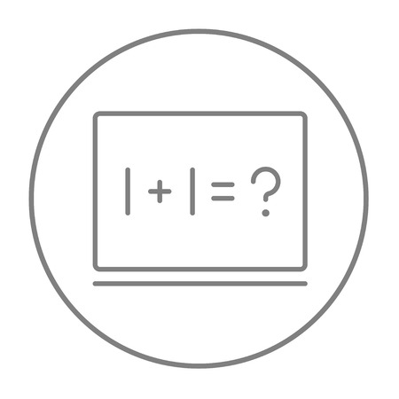 for example: Maths example written on blackboard line icon for web, mobile and infographics. Vector grey thin line icon in the circle isolated on white background.