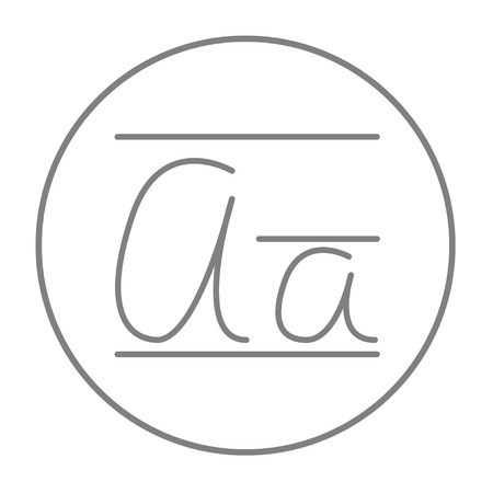 lexicon: Cursive letter a line icon for web, mobile and infographics. Vector grey thin line icon in the circle isolated on white background.