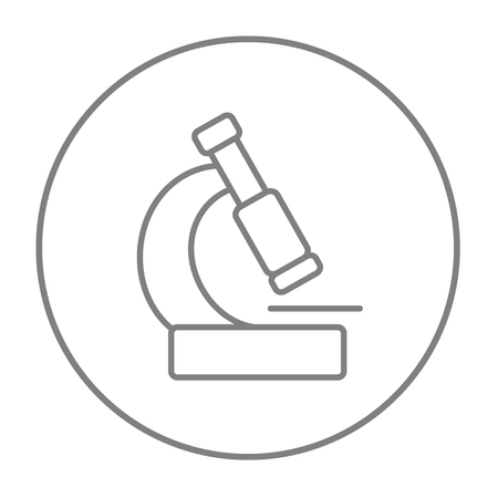 microscopy: Microscope line icon for web, mobile and infographics. Vector grey thin line icon in the circle isolated on white background.