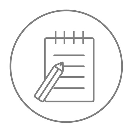 writing pad: Writing pad and pen line icon for web, mobile and infographics. Vector grey thin line icon in the circle isolated on white background.