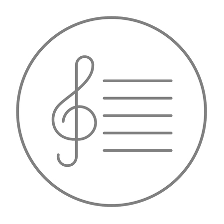 g clefs: Treble clef line icon for web, mobile and infographics. Vector grey thin line icon in the circle isolated on white background.