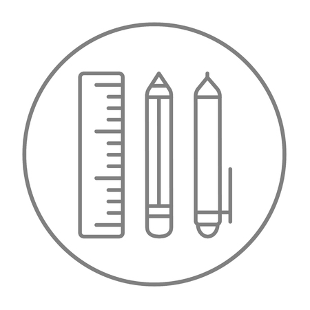 ball pens stationery: School supplies line icon for web, mobile and infographics. Vector grey thin line icon in the circle isolated on white background.