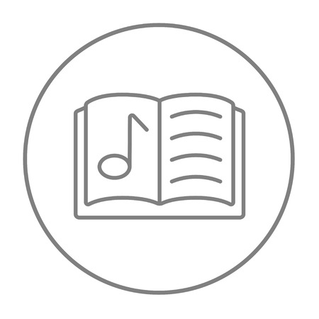 open notebook: Music book line icon for web, mobile and infographics. Vector grey thin line icon in the circle isolated on white background.
