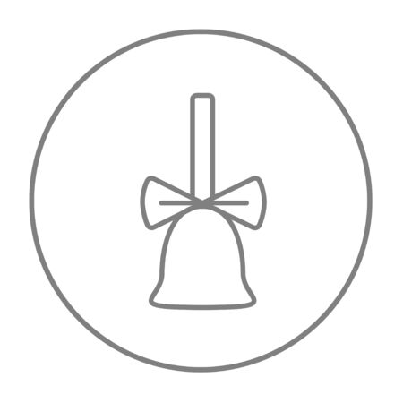 ding dong: School bell with ribbon line icon for web, mobile and infographics. Vector grey thin line icon in the circle isolated on white background. Illustration