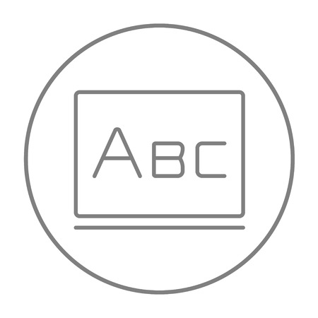 Letters abc on the blackboard line icon for web, mobile and infographics. Vector grey thin line icon in the circle isolated on white background.