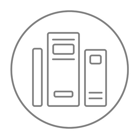 classbook: Books line icon for web, mobile and infographics. Vector grey thin line icon in the circle isolated on white background.