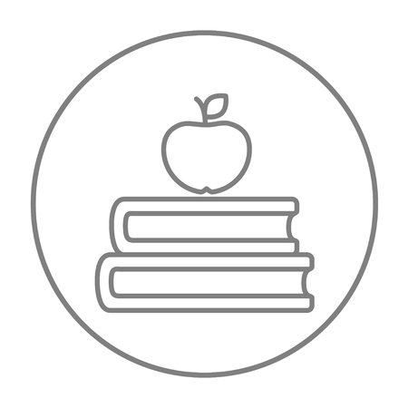 classbook: Books and apple on the top line icon for web, mobile and infographics. Vector grey thin line icon in the circle isolated on white background.