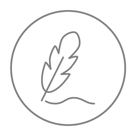 Feather line icon for web, mobile and infographics. Vector grey thin line icon in the circle isolated on white background.