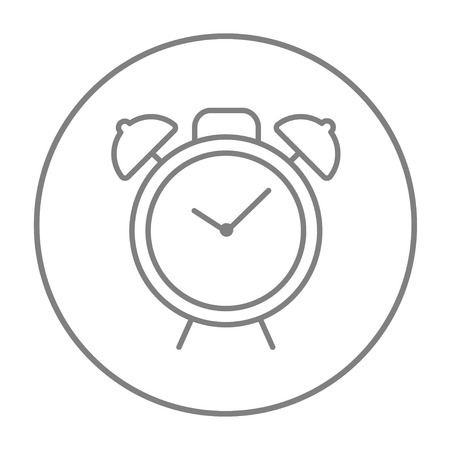 Alarm clock line icon for web, mobile and infographics. Vector grey thin line icon in the circle isolated on white background.