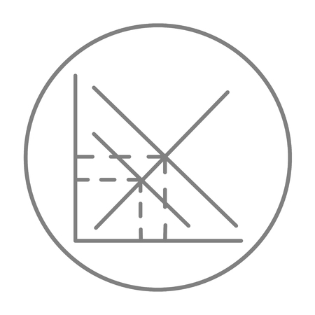 ordinate: Mathematical graph line icon for web, mobile and infographics. Vector grey thin line icon in the circle isolated on white background. Illustration