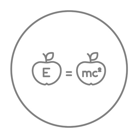 mc2: Two apples with formulae line icon for web, mobile and infographics. Vector grey thin line icon in the circle isolated on white background.