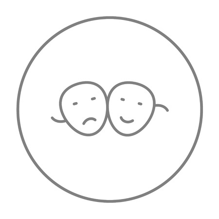 pessimistic: Two theatrical masks line icon for web, mobile and infographics. Vector grey thin line icon in the circle isolated on white background.