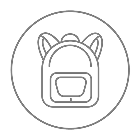 haversack: Backpack line icon for web, mobile and infographics. Vector grey thin line icon in the circle isolated on white background.