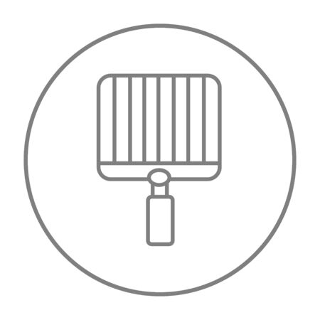 metal grate: Empty barbecue grill grate line icon for web, mobile and infographics. Vector grey thin line icon in the circle isolated on white background. Illustration