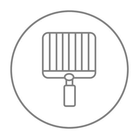 Vuoto Barbecue icona linea di griglia per il web, mobile e infografica. Vector grigio linea sottile icona nel cerchio isolato su sfondo bianco.
