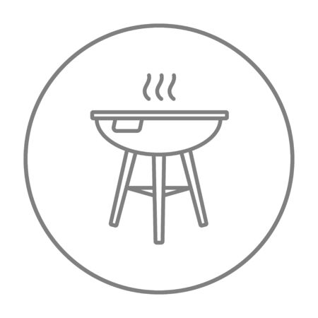 Kettle barbecue grill line icon for web, mobile and infographics. Vector grey thin line icon in the circle isolated on white background.