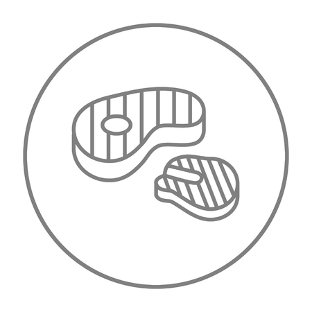 Grilled steak line icon for web, mobile and infographics. Vector grey thin line icon in the circle isolated on white background.