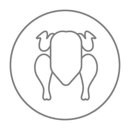Web、モバイル、インフォ グラフィックの生の鶏肉ライン アイコン。白い背景で隔離サークルのベクトル灰色細い線アイコン。  イラスト・ベクター素材