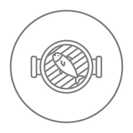 Grilled fish on the grill line icon for web, mobile and infographics. Vector grey thin line icon in the circle isolated on white background.