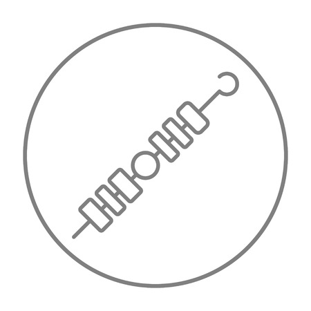 Shish kebab line icon for web, mobile and infographics. Vector grey thin line icon in the circle isolated on white background. Illustration