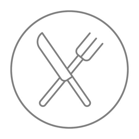 Crossed  knife and fork line icon for web, mobile and infographics. Vector grey thin line icon in the circle isolated on white background.