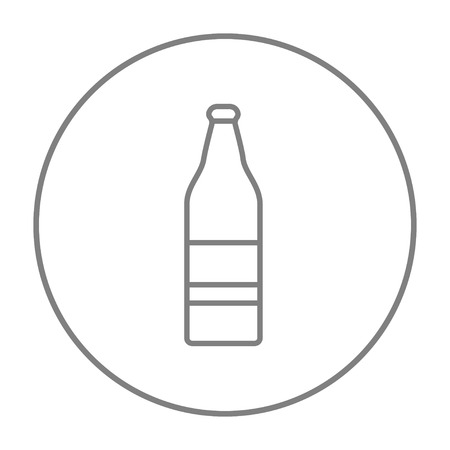 Glass bottle line icon for web, mobile and infographics. Vector grey thin line icon in the circle isolated on white background.