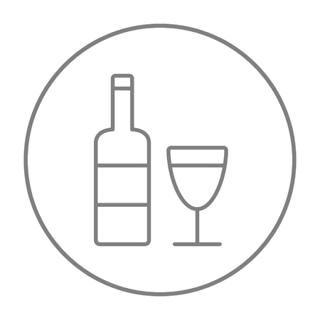 Bottle of wine line icon for web, mobile and infographics. Vector grey thin line icon in the circle isolated on white background.